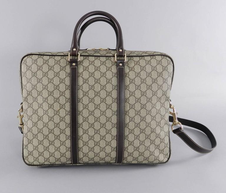 2c5480fe79d0 Gucci Supreme Monogam Briefcase / Laptop Messenger Bag In Excellent  Condition For Sale In Toronto,