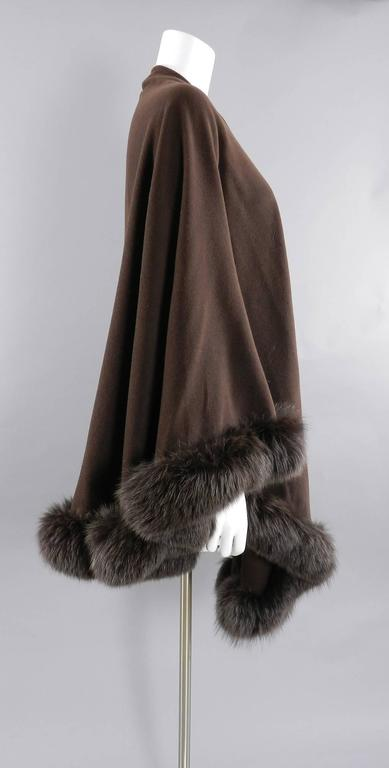 Givenchy Vintage Brown Wool Cape Shawl Wrap with Fox Fur