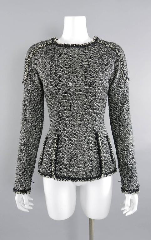 Chanel 11A Black and Ivory Long Sleeve Runway Top 10