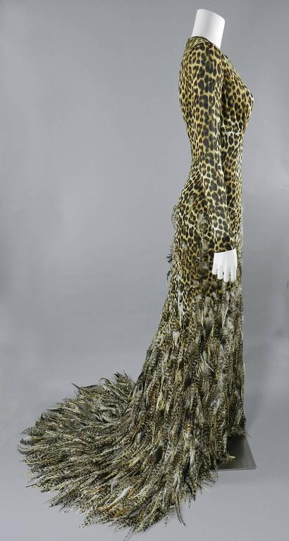 Giambattista Valli Haute Couture Fall 2011 Leopard and Feather Evening Gown 5