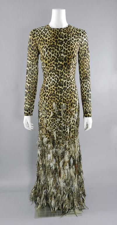 Giambattista Valli Haute Couture Fall 2011 Leopard and Feather Evening Gown 4