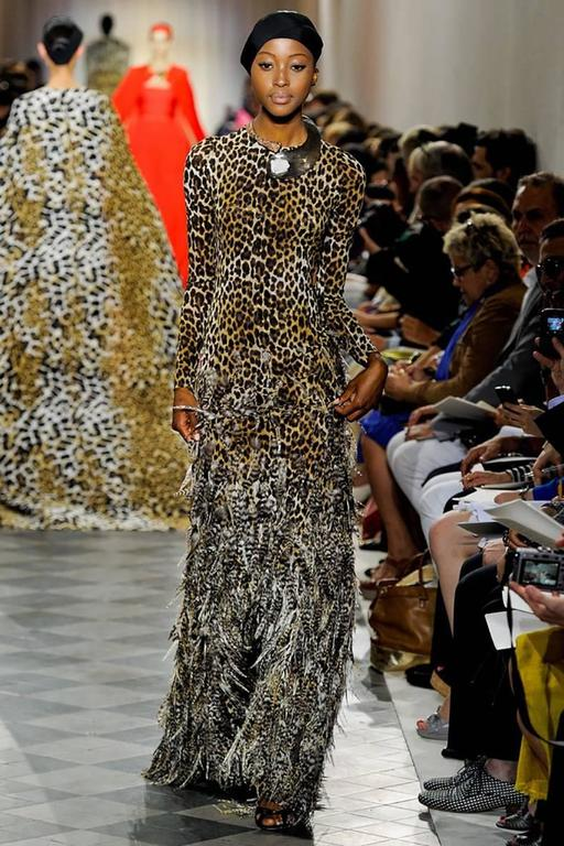 Giambattista Valli Haute Couture Fall 2011 Leopard and Feather Evening Gown 8