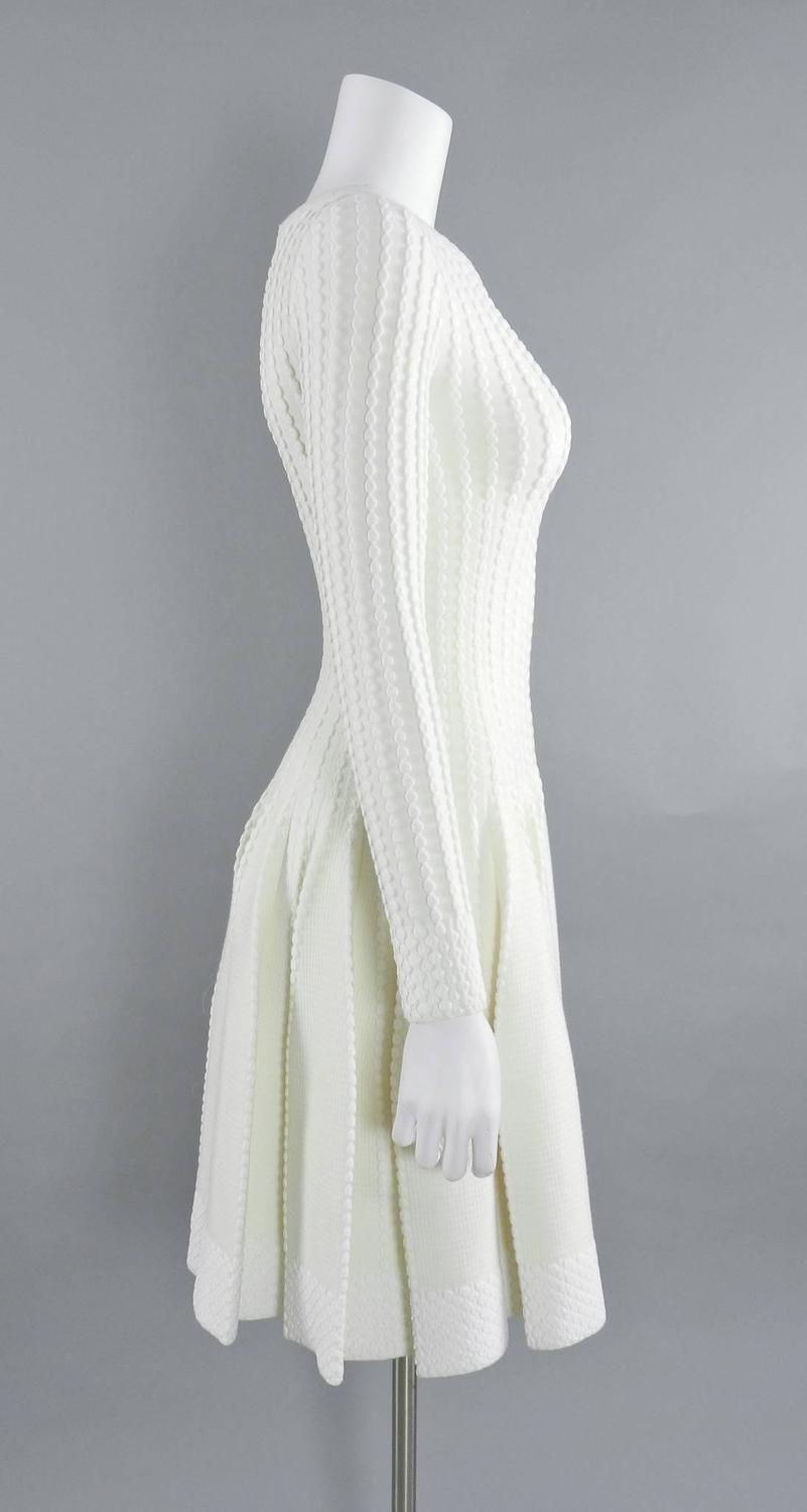 alaia winter white ivory long sleeve bodycon fit and