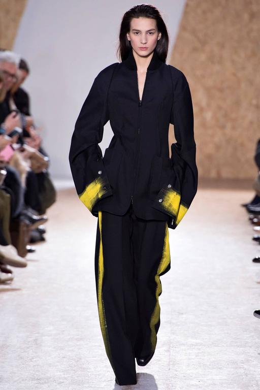 Maison Martin Margiela Fall 2013 Runway Black Jacket with Yellow Painted Cuffs 2