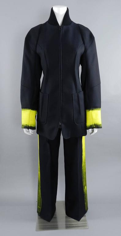 Maison Martin Margiela Fall 2013 Runway Black Jacket with Yellow Painted Cuffs 3