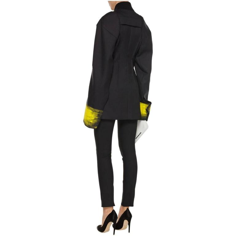 Maison Martin Margiela Fall 2013 Runway Black Jacket with Yellow Painted Cuffs 6