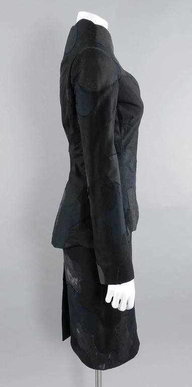 Alexander McQueen 2004 Black Patchwork Skirt Suit - Stand up Collar 2