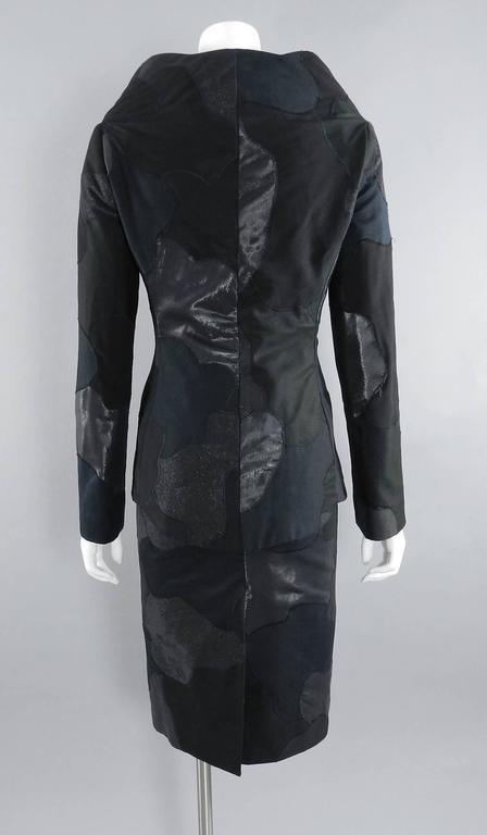 Alexander McQueen 2004 Black Patchwork Skirt Suit - Stand up Collar 3
