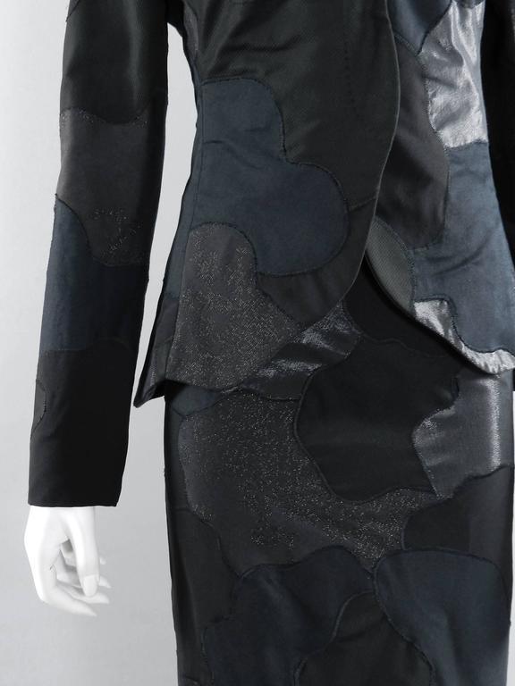 Alexander McQueen 2004 Black Patchwork Skirt Suit - Stand up Collar 4