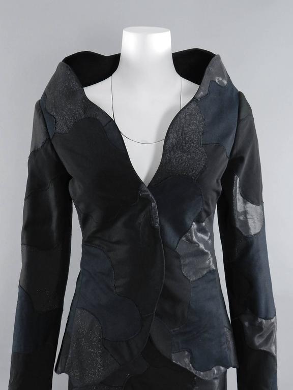 Alexander McQueen 2004 Black Patchwork Skirt Suit - Stand up Collar 5
