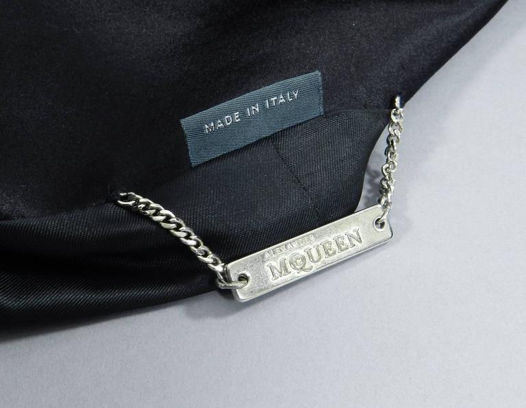 Alexander McQueen 2004 Black Patchwork Skirt Suit - Stand up Collar 6