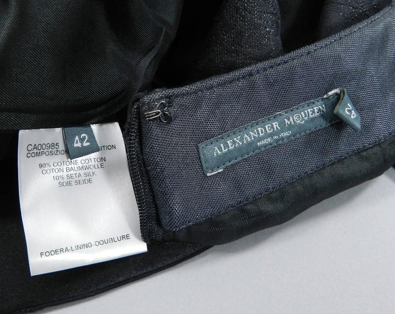 Alexander McQueen 2004 Black Patchwork Skirt Suit - Stand up Collar 7