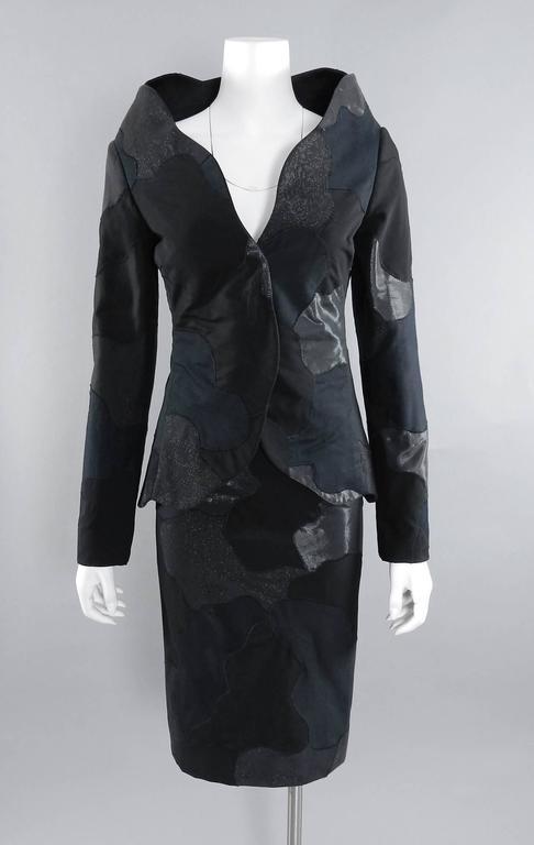 Alexander McQueen 2004 Black Patchwork Skirt Suit - Stand up Collar 8