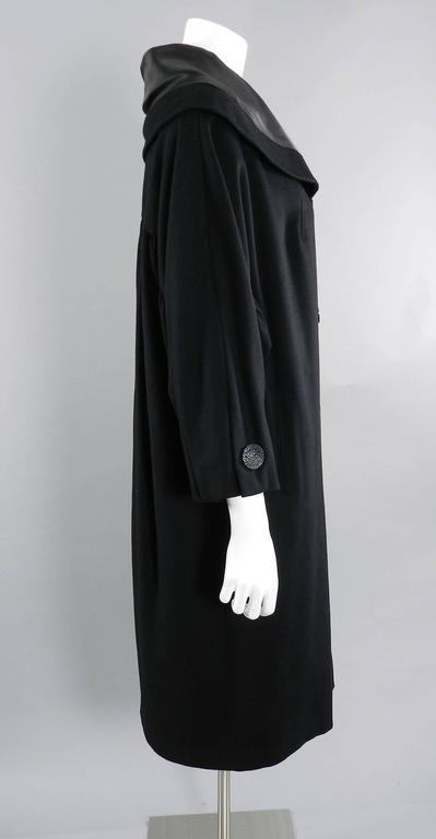 Vintage 1950's Norman Hartnell Black Wool Coat 2
