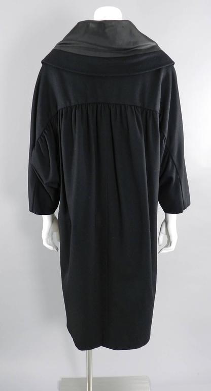 Vintage 1950's Norman Hartnell Black Wool Coat 3