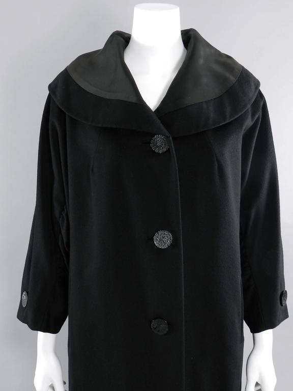 Vintage 1950's Norman Hartnell Black Wool Coat 4