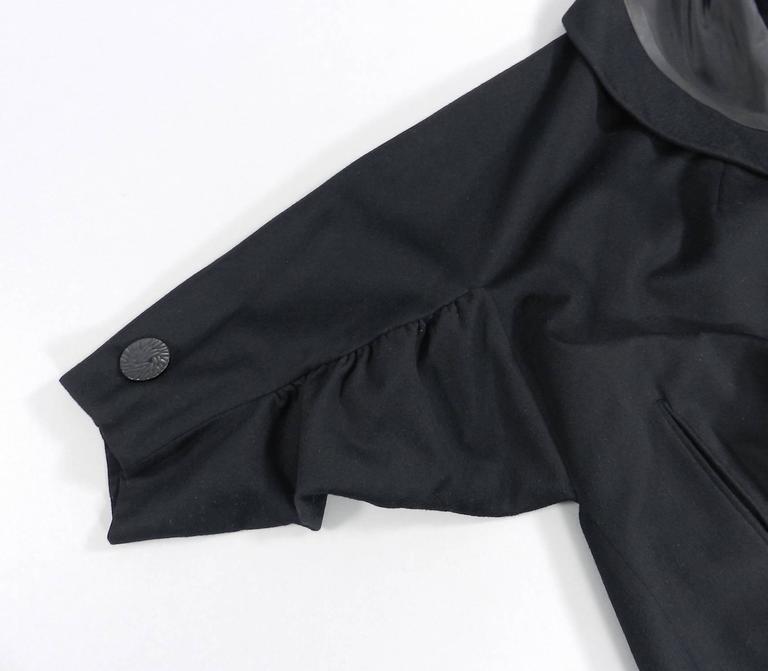 Vintage 1950's Norman Hartnell Black Wool Coat 5
