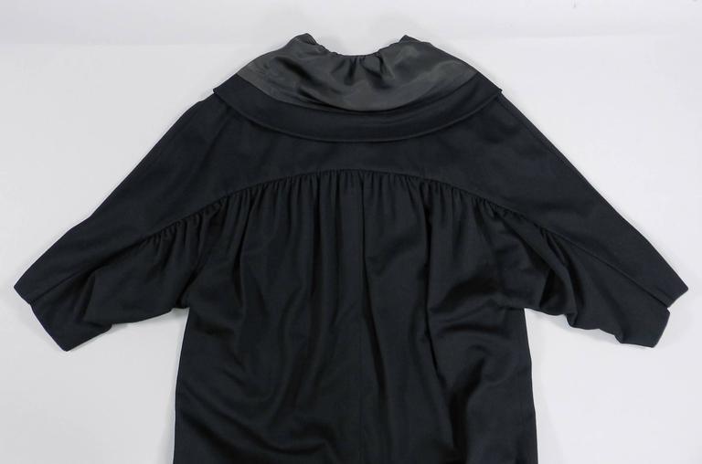 Vintage 1950's Norman Hartnell Black Wool Coat 6