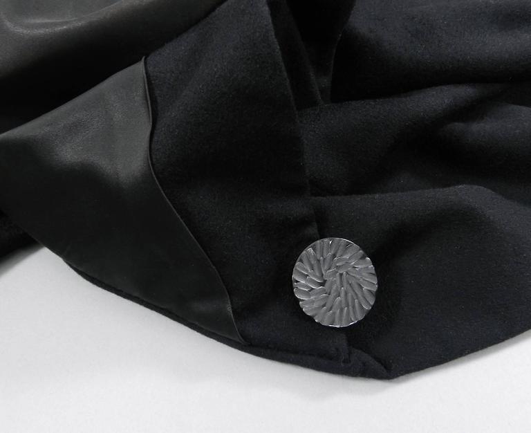 Vintage 1950's Norman Hartnell Black Wool Coat 7