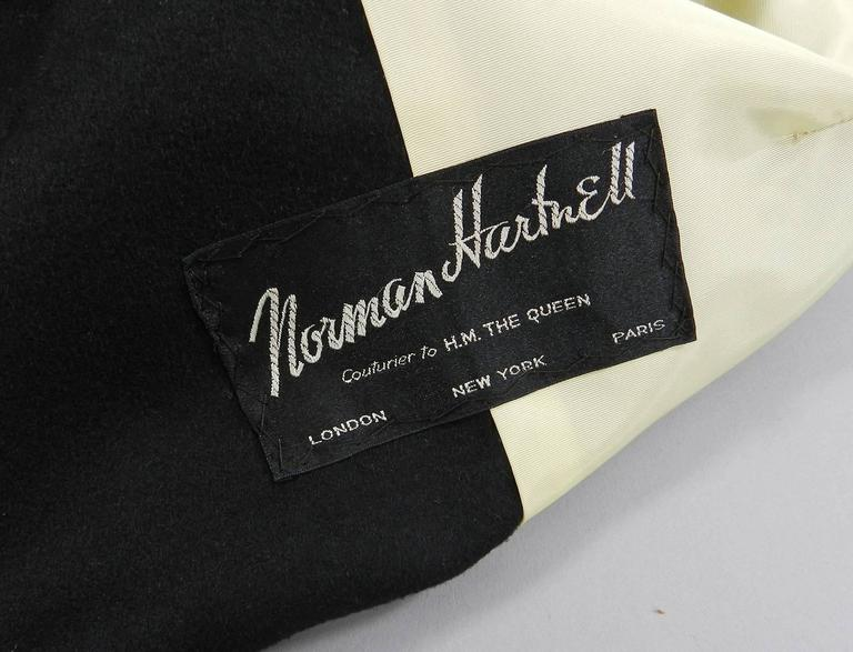 Vintage 1950's Norman Hartnell Black Wool Coat 8
