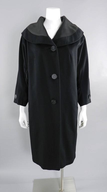 Vintage 1950's Norman Hartnell Black Wool Coat 9