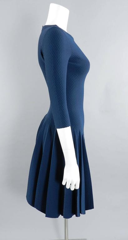 Alaia Prussian Blue Fit and Flare Knit Jersey Dress 2