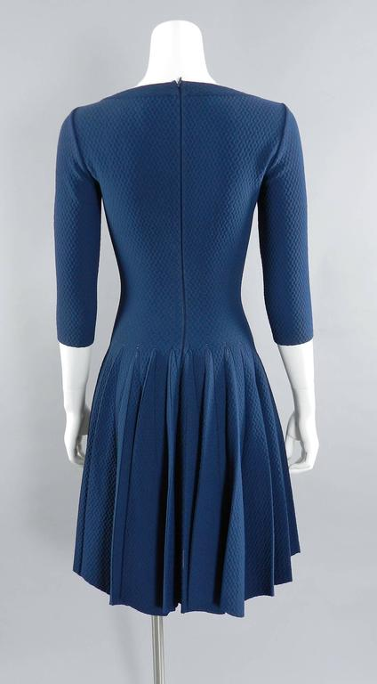 Alaia Prussian Blue Fit and Flare Knit Jersey Dress 3