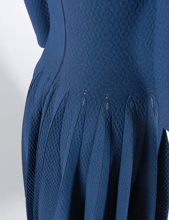 Alaia Prussian Blue Fit and Flare Knit Jersey Dress 4