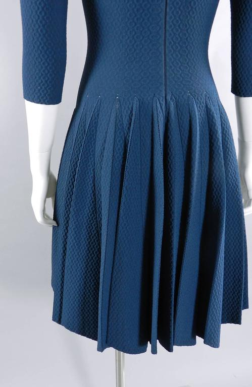 Alaia Prussian Blue Fit and Flare Knit Jersey Dress 5