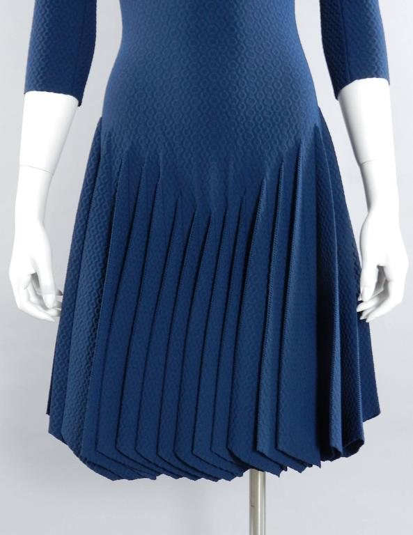 Alaia Prussian Blue Fit and Flare Knit Jersey Dress 6