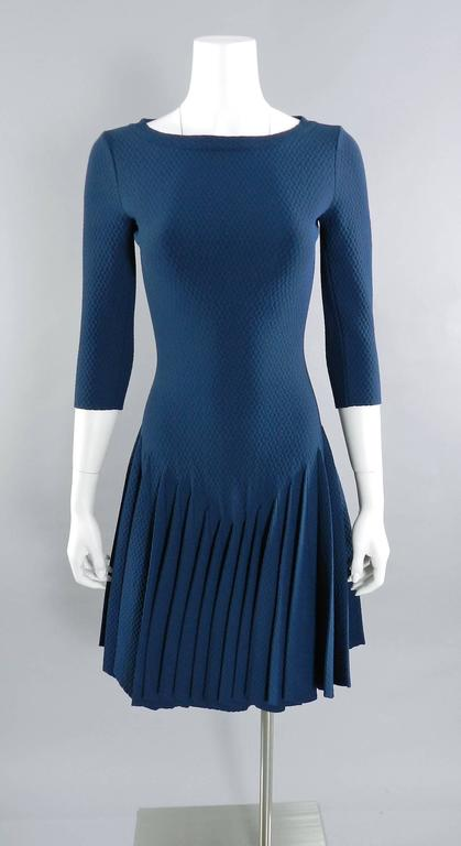 Alaia Prussian Blue Fit and Flare Knit Jersey Dress 9