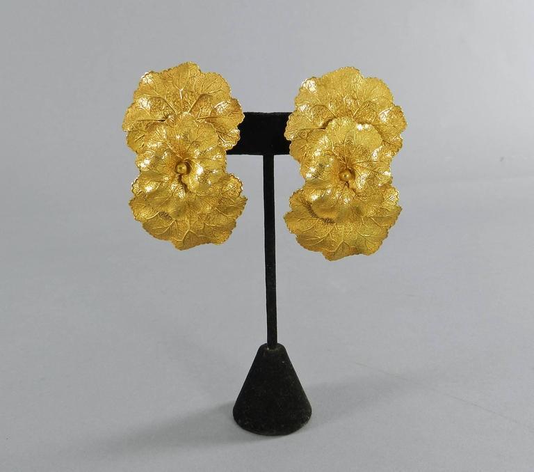 Vintage Dominique Aurientis Gilt Necklace and Earrings Set 4