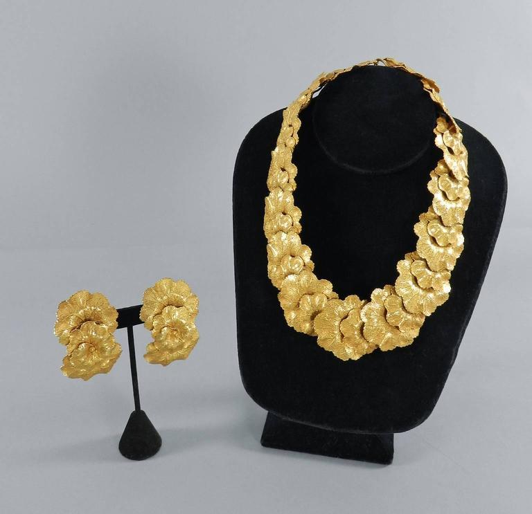Vintage Dominique Aurientis Gilt Necklace and Earrings Set 5