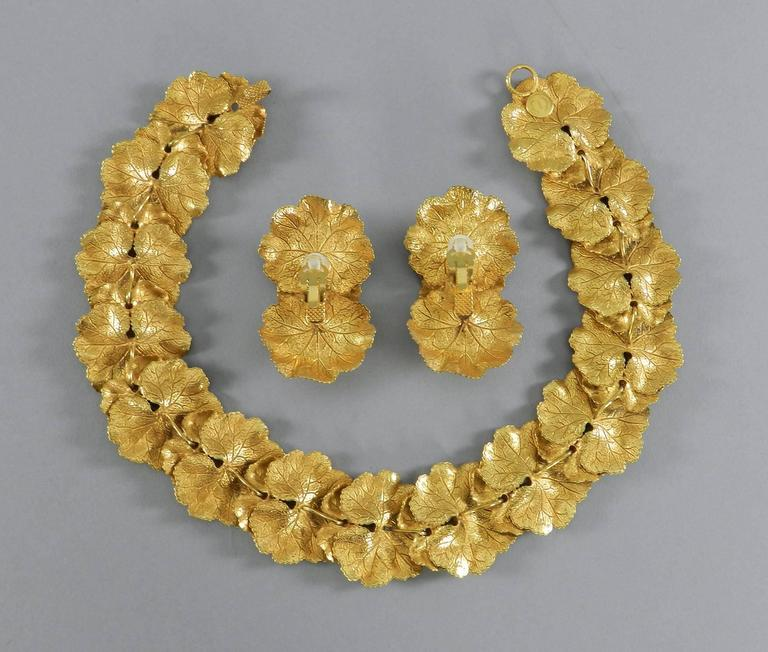Vintage Dominique Aurientis Gilt Necklace and Earrings Set 6