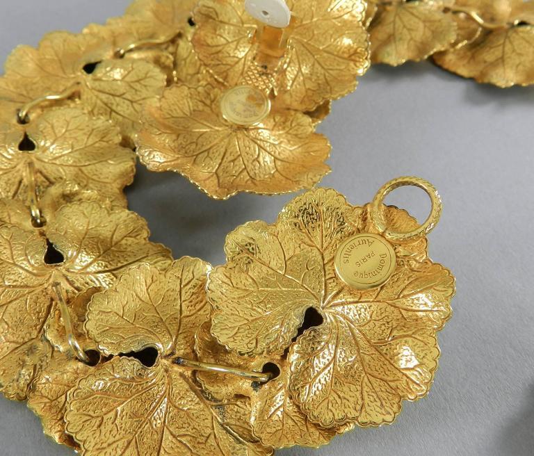 Vintage Dominique Aurientis Gilt Necklace and Earrings Set 7