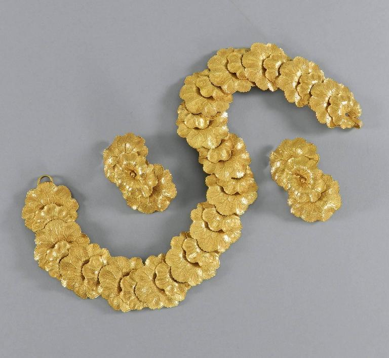 Vintage Dominique Aurientis Gilt Necklace and Earrings Set 8