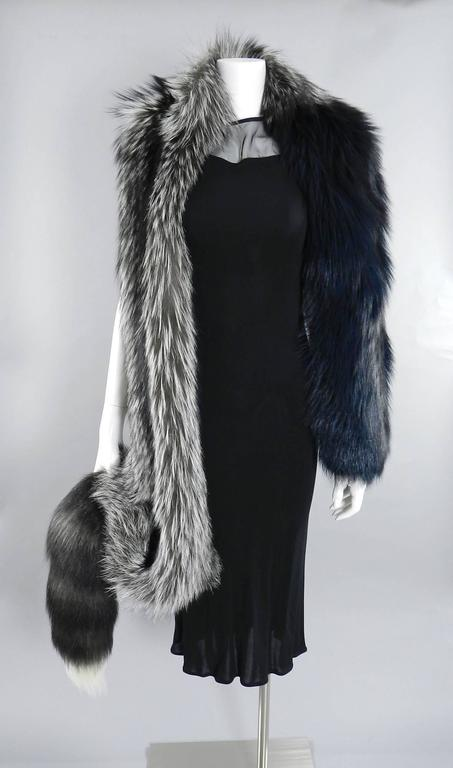 Lanvin fall 2010 Silver fox fur scarf / stole with 1 sleeve 2