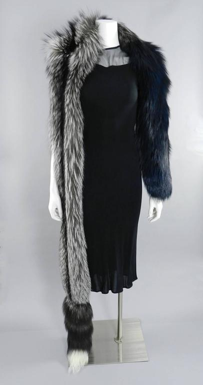 Lanvin fall 2010 Silver fox fur scarf / stole with 1 sleeve 3