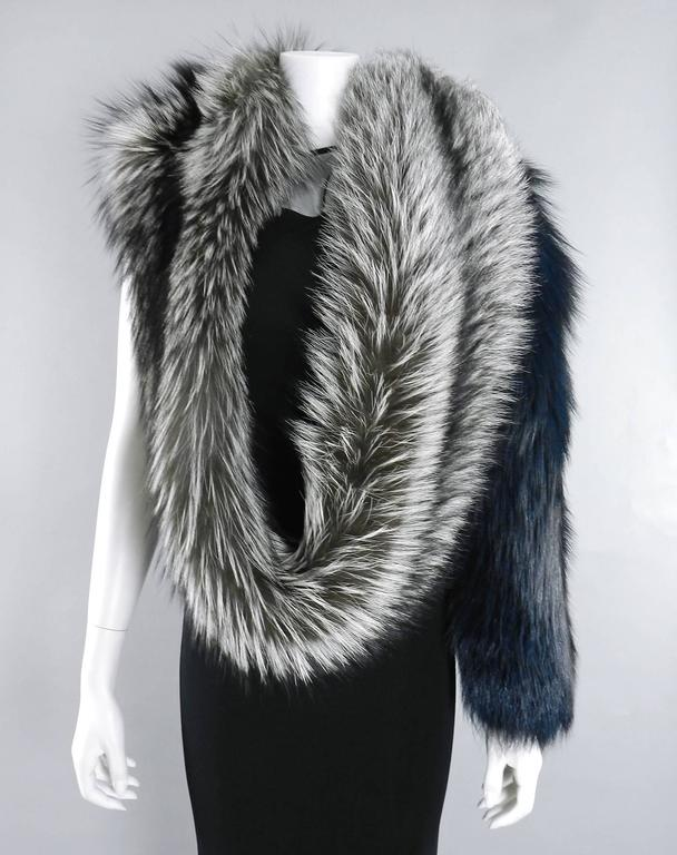 Lanvin fall 2010 Silver fox fur scarf / stole with 1 sleeve 4