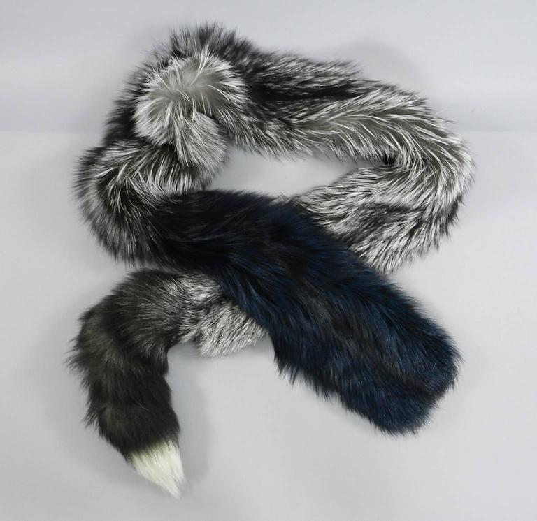 Lanvin fall 2010 Silver fox fur scarf / stole with 1 sleeve 7