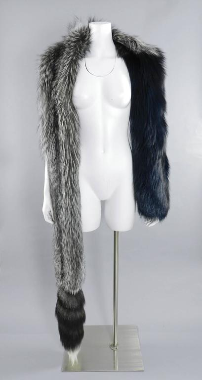 Lanvin fall 2010 Silver fox fur scarf / stole with 1 sleeve 10