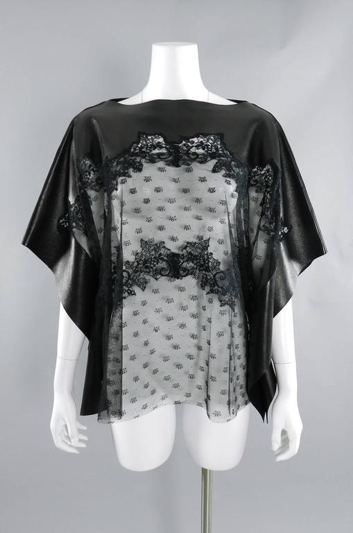 Valentino Black Lambskin Leather and Sheer Lace Caftan Tunic Top 2