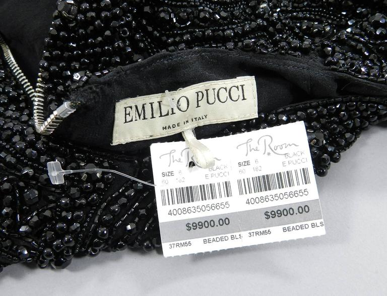 Emilio Pucci Fall 2013 Runway Heavily Beaded Black Evening Top / Shirt For Sale 1