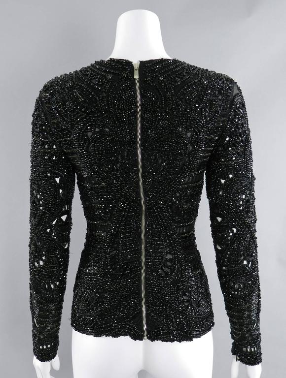Emilio Pucci Fall 2013 Runway Heavily Beaded Black Evening Top / Shirt For Sale 3