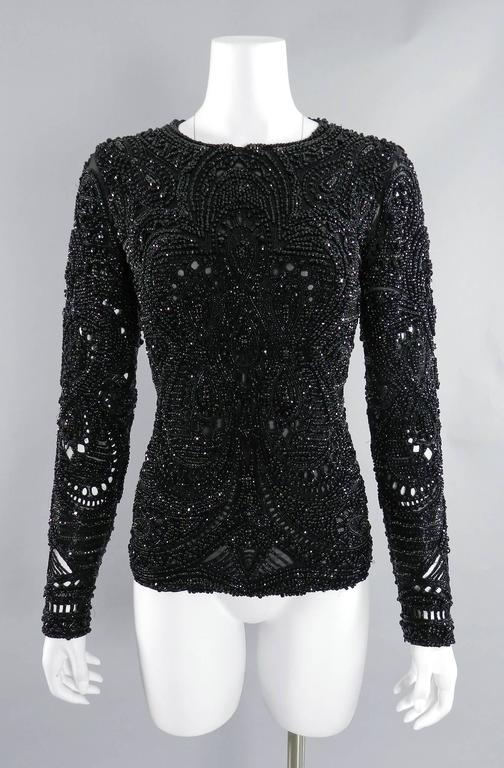 Emilio Pucci Fall 2013 Runway Heavily Beaded Black Evening Top / Shirt 10