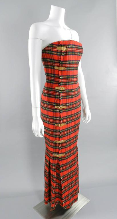 Isaac Mizrahi Fall 1989 Extreme Kilt Runway Dress - Red Plaid 4