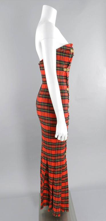 Isaac Mizrahi Fall 1989 Extreme Kilt Runway Dress - Red Plaid 5
