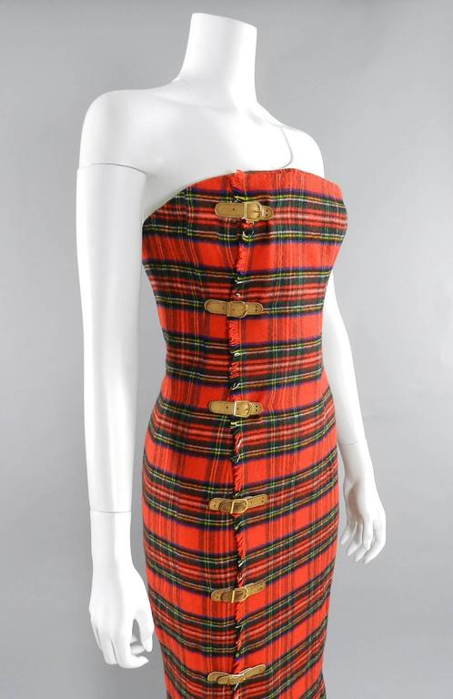Isaac Mizrahi Fall 1989 Extreme Kilt Runway Dress - Red Plaid 7