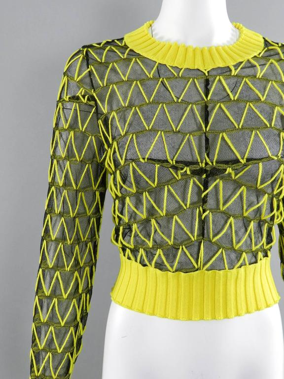 Maison Margiela Fall 2013 Runway Yellow and Black Mesh Crop Sweater 4