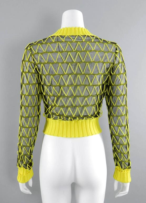 Maison Margiela Fall 2013 Runway Yellow and Black Mesh Crop Sweater 6